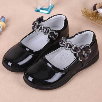 2019New Kids Shoes Girls Childrens shoes for School student Leather Black princess Red White Pink Rose 3-18T