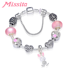 MISSITA Lovely Romantic Bunny Rabbit Charm Bracelet with Light Pink Beads Brand for Women Anniversary Gift Hot Sale