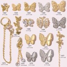 Strass papillon de luxe en cristal Zircon pour décoration des ongles, alliage doré, chaînes à la mode, bijoux décoratifs