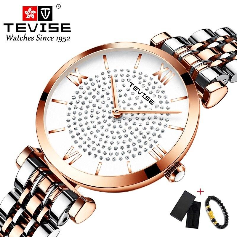 Brand Tevise Woman Watch 2019 Waterproof Stainless Steel Quartz Watch Women Fashion Casual Female Wristwatch Relogio Feminino