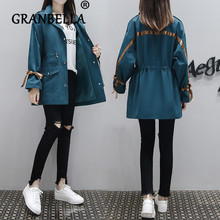 2019 Spring Autumn Long-Sleeve Trench Outerwear Casual Thin Women Drawstring sho