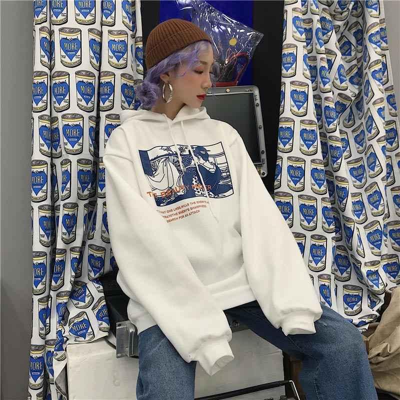 여자 봄 인쇄 스웨터 풀 오버 플러스 벨벳 특대 후드 여성 Hoody 2020 봄 패션 캐주얼 스웨터 여성