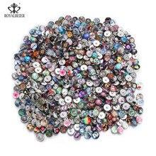 ROYALBEIER – lot de 100 breloques mixtes à motifs magnifiques, 18mm, bouton-pression en verre pour bricolage, bijoux, livraison aléatoire, KZHM151