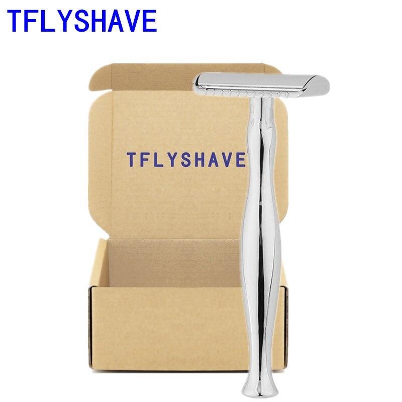 TFLYSHAVE Men's Safety Razor Closed Comb Double Edge Razor Zinc Alloy Classic Manual Shaver Long Handle Shaving Razor 10 Blades