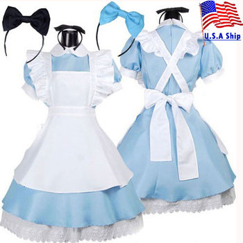 Umorden Wonderland Alice Costume Lolita Dress Maid Cosplay Fantasia Carnival Party Halloween Costumes for Women carnival halloween costume for women girl pink fairy princess costume dress fantasia adult cosplay clothing