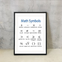 Math Symbols Print Educational Poster Math Classroom Decor Teacher Appreciation Gift Idea Mathematics Canvas Painting Picture(China)