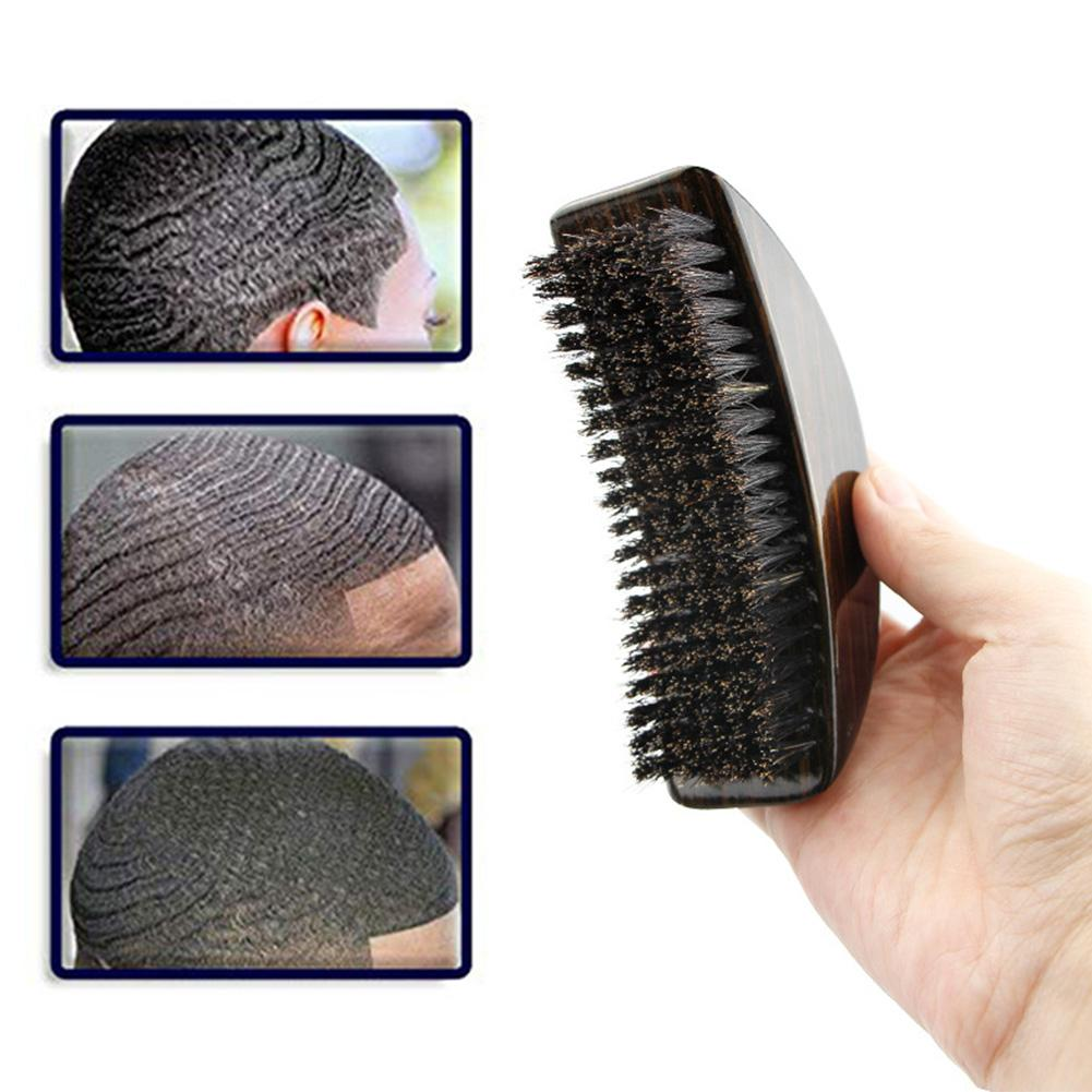Beard Brush With Moon-shape Handle Moderate Hardness Anti-static Beard Clean Care Brush Comb For Men Face Massage