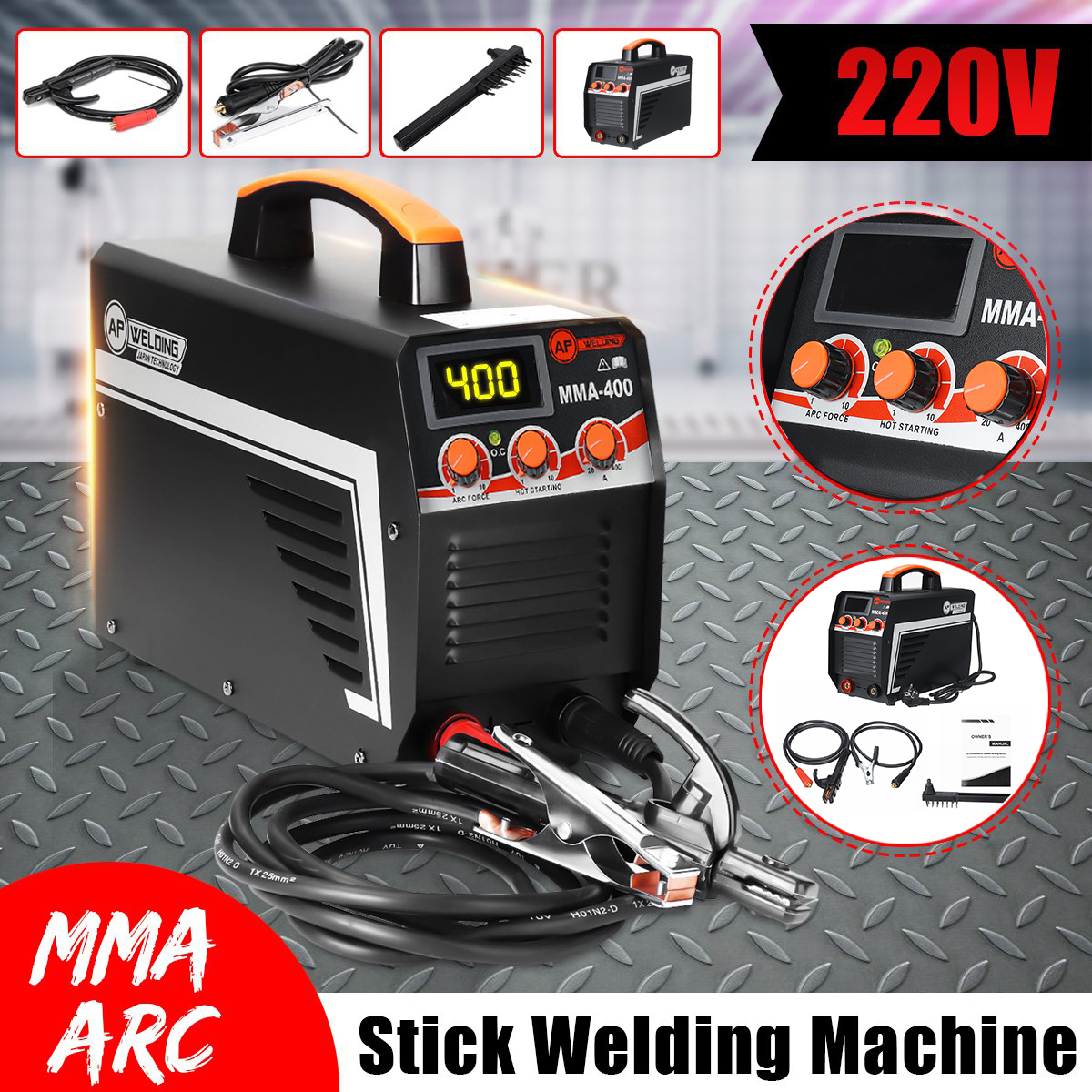 New IGBT Inverter Arc Electric Welding Machine MMA-400 220V Digital Display Arc Stick Welders Set For DIY Home Welding Working