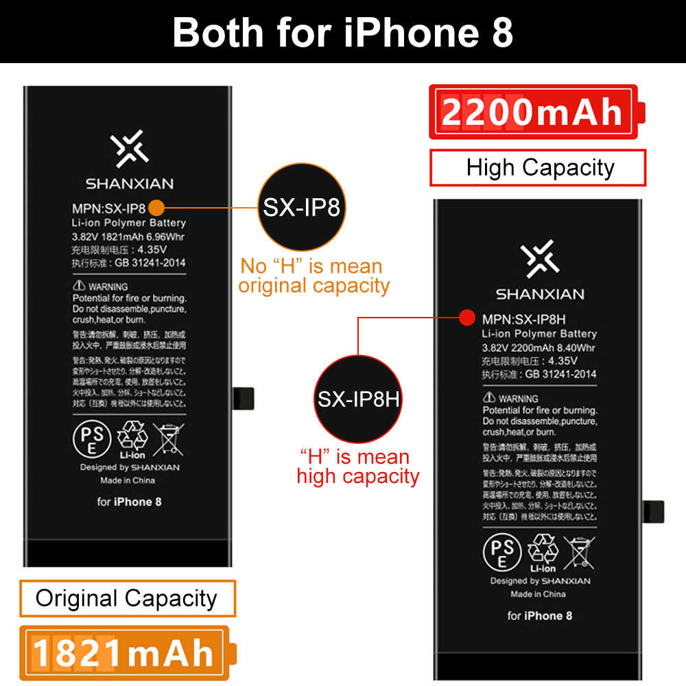 SHANXIAN Original Und Verlängern Hohe batterie für iPhone X XR XS Max SE 5G 5C 5S 6 6S 7 8 Plus Null Zyklus Freies werkzeuge PSE CE UN 38,3