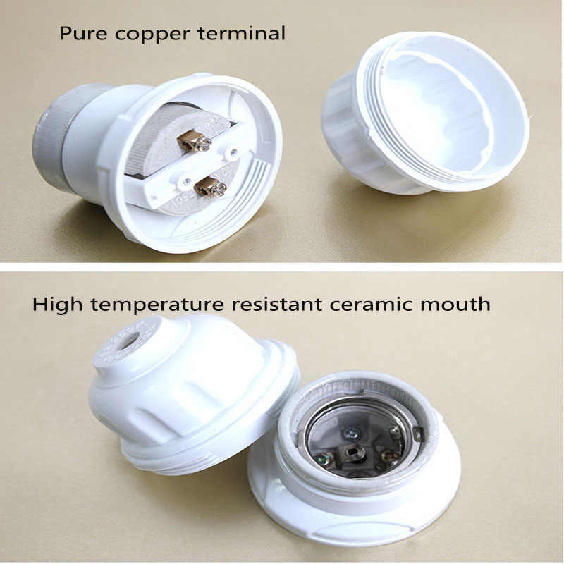 Thick High Temperature Ceramic  Switch Lamp Holder Screw Mouth E27 Chandelier Socket Copper Column