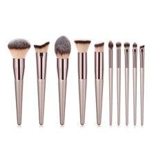 Champagne único conjunto de pincéis de maquiagem fundação pó blush conceale sobrancelha sombra mistura compõem escova cosméticos ferramenta