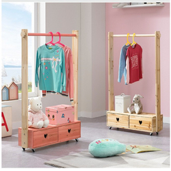 Estante de ropa para niños de doble empate de madera maciza estante de ropa de piso de pino percha para ropa doméstica