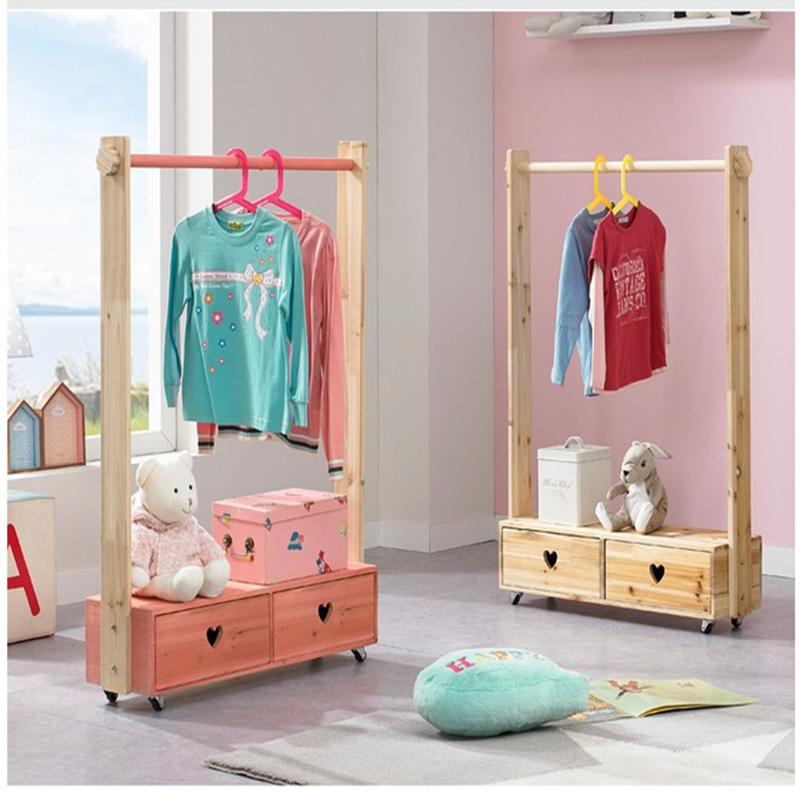 Solid Wood Double Draw Children's Clothes Rack Pine Floor Clothes Hat Rack Household Clothes Hanger Clothes Rack