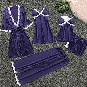 Pigiama donna MENORE 5 pezzi Set pigiama solido in raso di seta Set pigiama Sexy con imbottitura abiti da notte in pizzo indumenti da notte abiti per la casa
