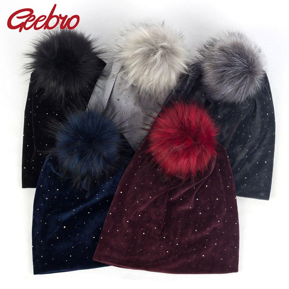 Geebro Women Rhinestones Baggy Velvet Hats Diamond Beanies With Faux Fur Pom Pom Winter Warm Ear Hat Caps For Female Lady DK947