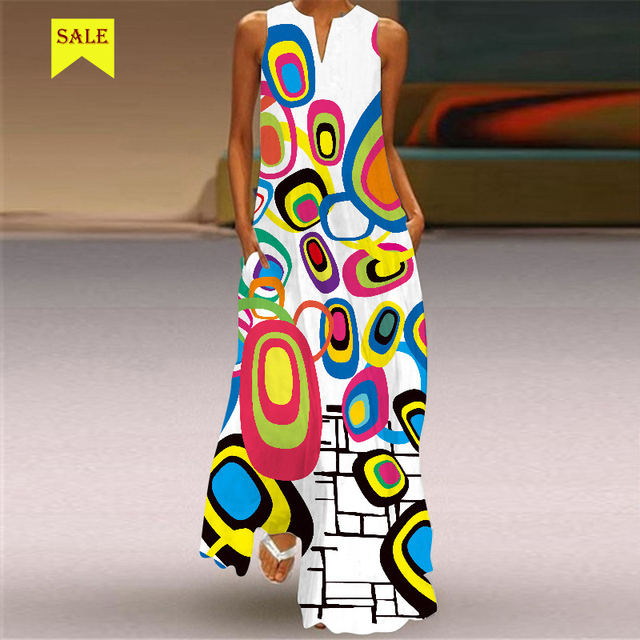 MOVOKAKA 2021 Maxi Dress Women Summer Beach Dot Btterfly Print Sleeveless Elegant Dress V Neck Casual Plus Size Vestidos Dresses 4