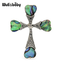 Wuli Bayi Alami Abalone Shell Cross Pin Bros Liontin-Lubang Pernikahan Bros Pria Holly Hadiah(China)