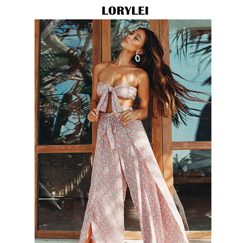 2020 Bohemian Printed Beach Cover Ups Sexy Bowknot Tops And Pants 2 Pieces Women Summer Beachwear Bathing Suit Cover-ups A129