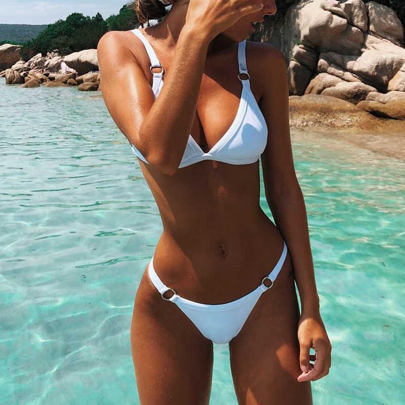 2020 Sexy Thong Micro Bikini Wanita Pakaian Renang Solid Push Up Baju Renang Wanita Bikini Set Brasil Biquini Baju