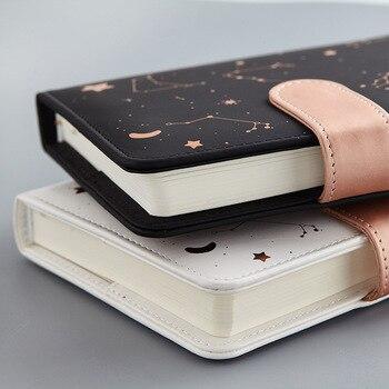 Записная книжка, планировщик, звездное небо, узор A6, маленький дневник, полный год, ежедневный и Ежемесячный план, мягкая кожа, 288 страниц