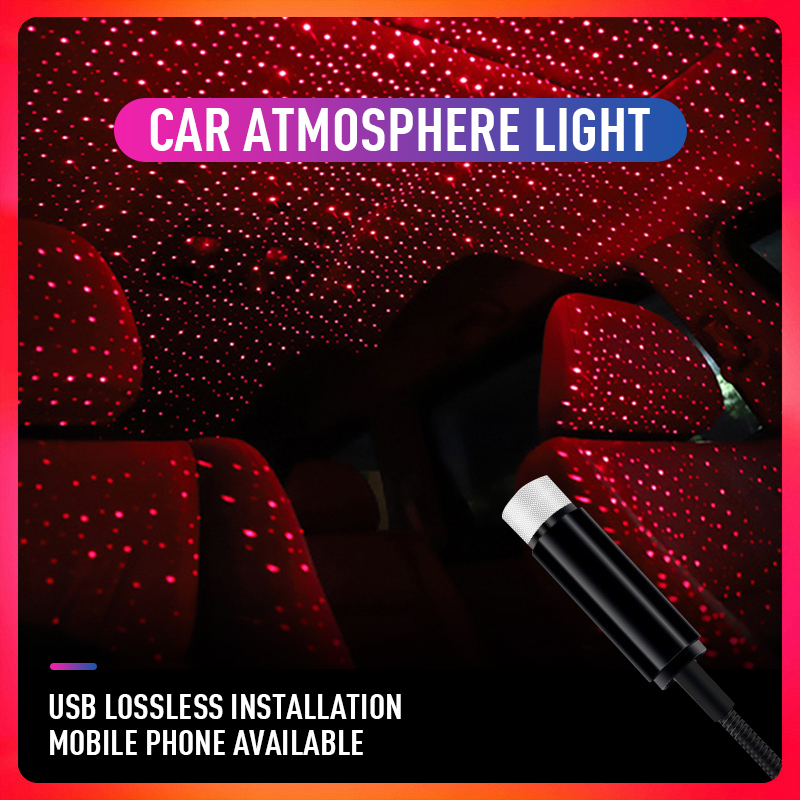 USB Atmosphere Lamp Interior Ambient Star Light Laser Projection Lamp Ambient Light Starry Interior Decoration Star Projector
