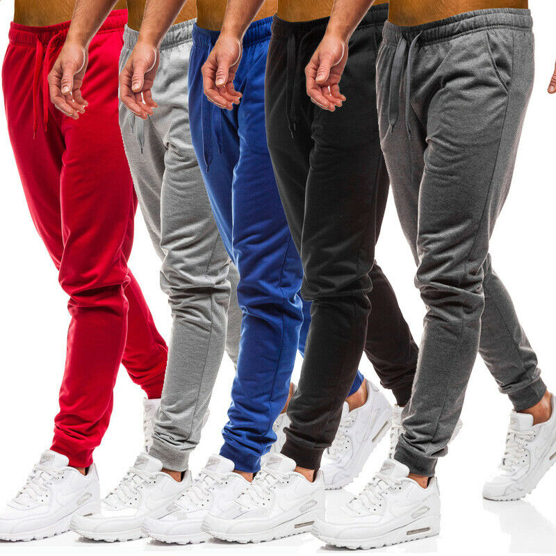 US Mens Slim Fit Tracksuit Sport Gym Skinny Jogging Joggers Sweat Pants Trousers