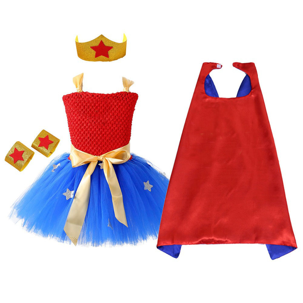 1 Set Wonder Girl Tutu Dress Brave Super Girls Superhero Hero Theme Birthday Party Dresses Halloween Costume For Kids 1