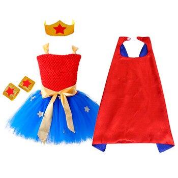 1 Set Wonder Girl Tutu vestido Brave Super Girls Super hero tema cumpleaños fiesta vestidos disfraz de Halloween para niños