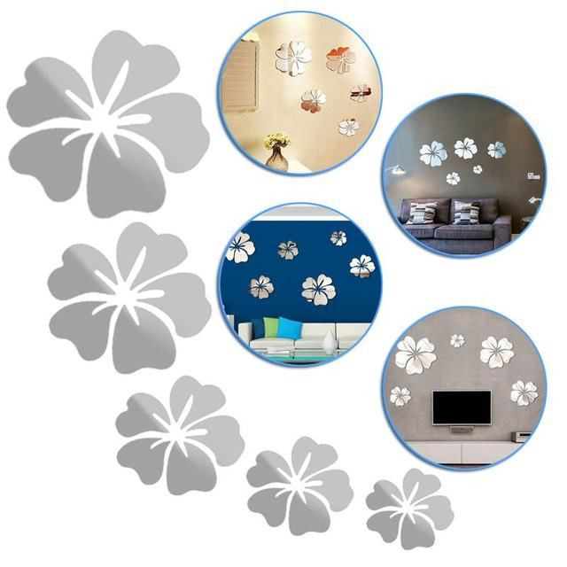 5 Pcs Hibiscus Flower Background Wall Stickers 3D Home Decoration Wall Art DIY Silver Mirror Wall Decorative Home Accessories 6