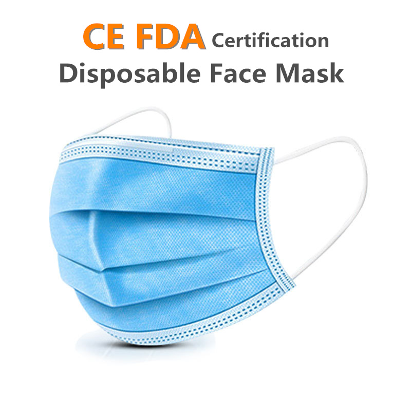 Fast Shipping 50pcs Non Woven Disposable Face Masks 3 Layer Hanging Ear Dust Filter Safety Elastic Facial Dust-Proof Safety Mask