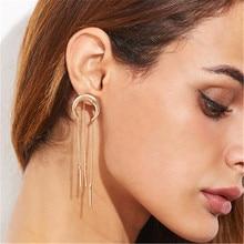 Women Female Vintage Long Dangle Drop Earrings Fashion Moon Tassel Geometric Metal Earrings Jewelry Wholesale-YR-W17