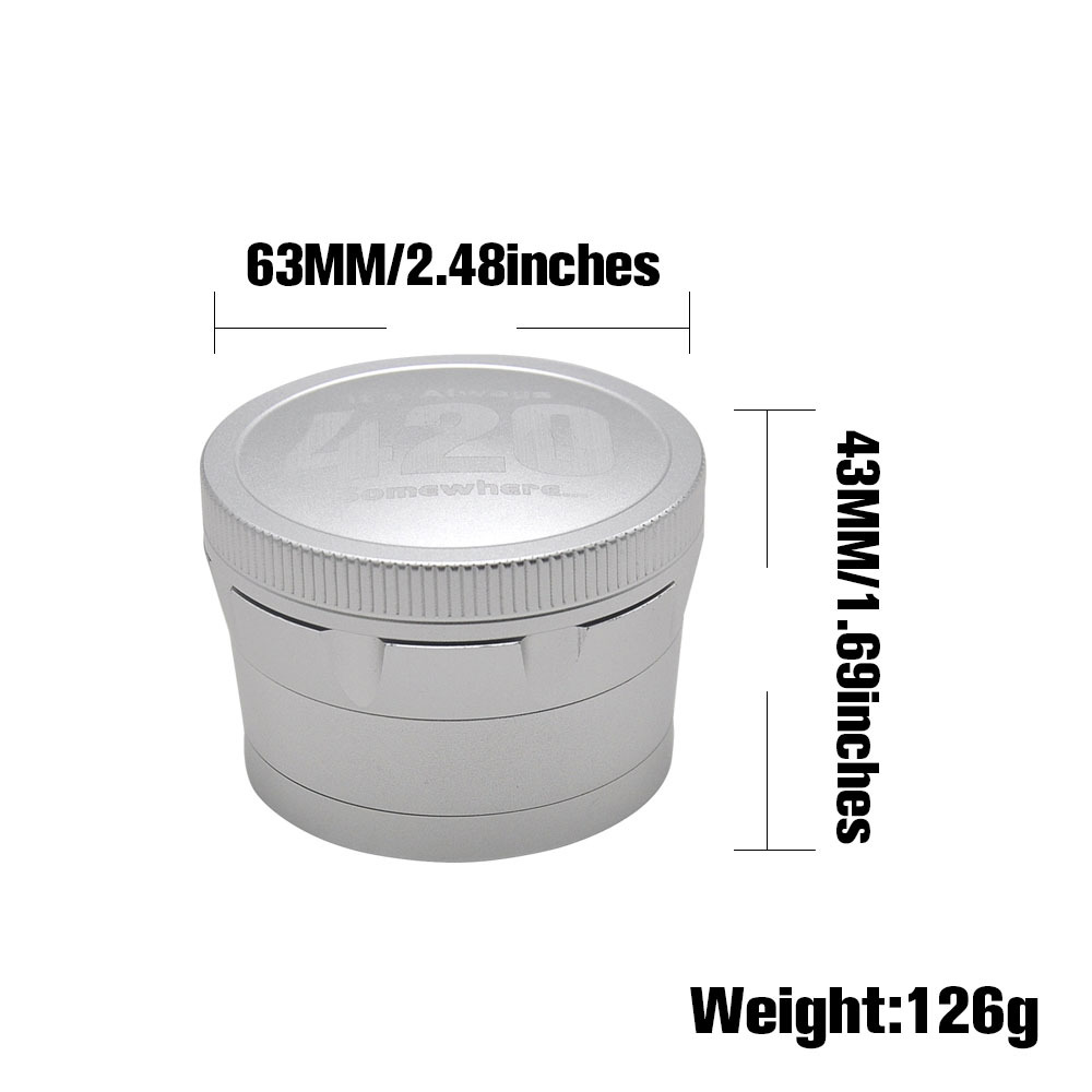 Aircraft Aluminum Herb Tobacco Grinder with Diamond Teeth 63 MM 4 Layers Herb Grinder Crusher Spice Grinder 1