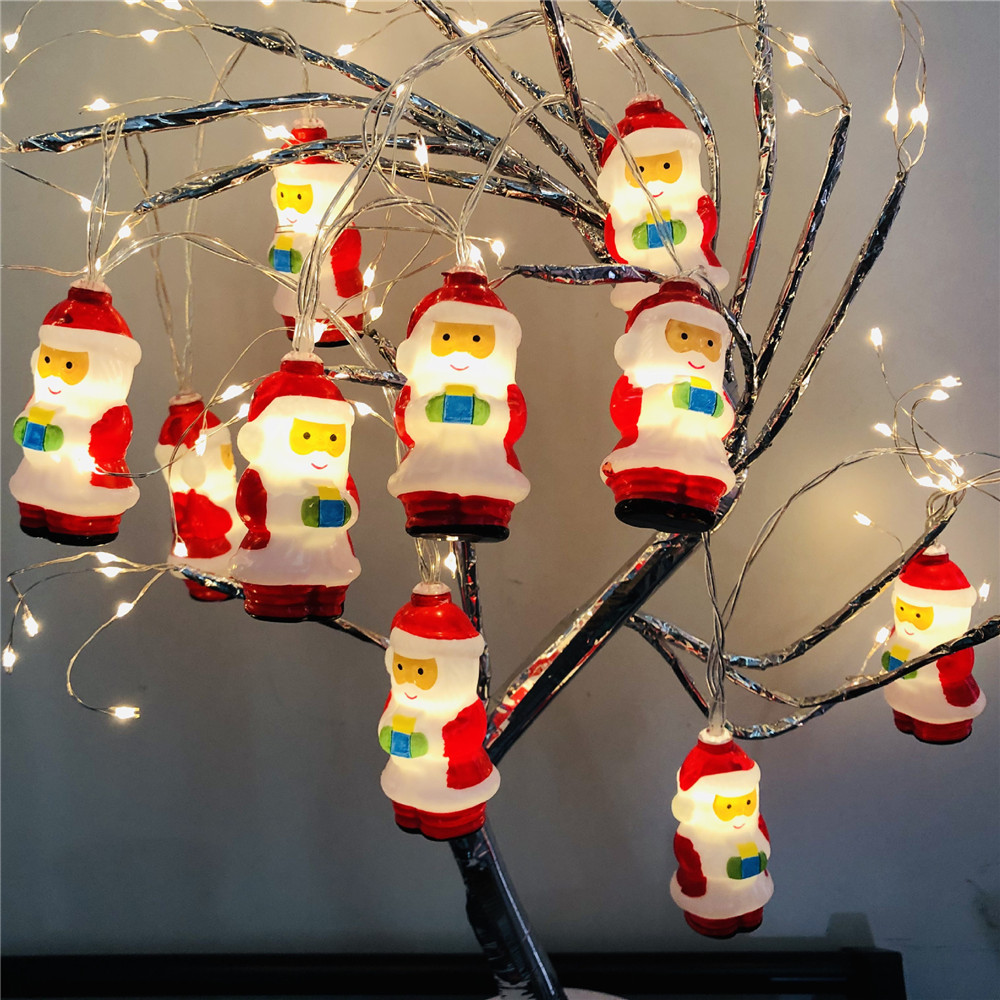 10 Leds Christmas String Light USB Or Battery Operated Santa Claus Lighting Home Decoration For Bedroom,Stairs,Tree,Party