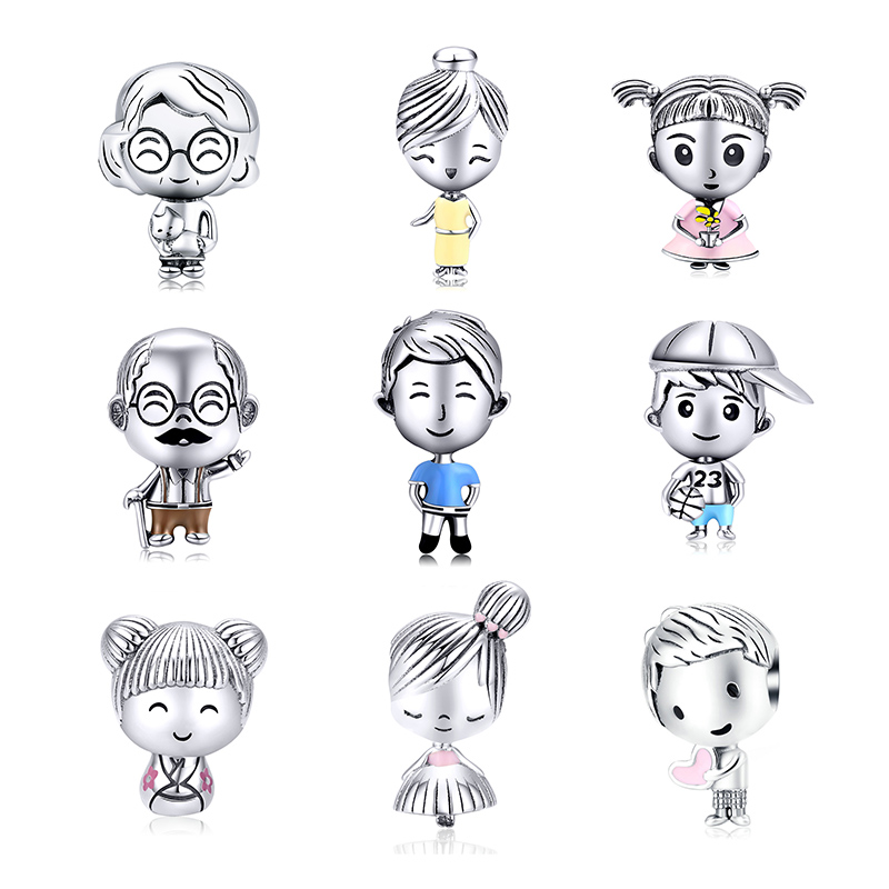WOSTU New Design 925 Sterling Silver Family Beads Charms Fit Original Bracelet Pendant Fashion DIY Jewelry