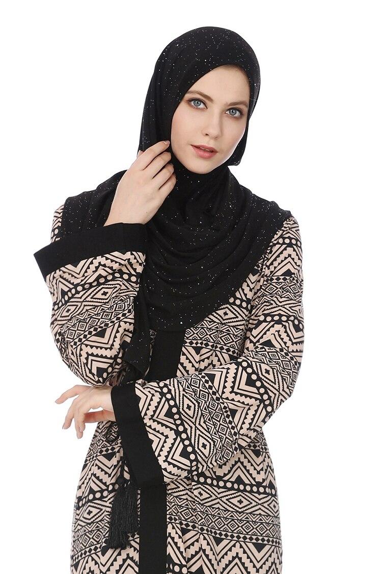 2019 Casual Print Muslim Abaya Lace Up Open Stitch Women Maxi Dress Loose Islamic Ramadan Arab UAE Dubai Robe Gowns VKDR1574