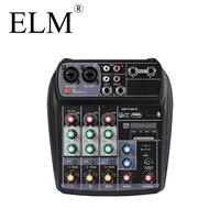ELM AI 4 Karaoke Audio Mixer Mixing Console Compact Sound Card Mixing Console Digital BT MP3 USB for Music DJ recording