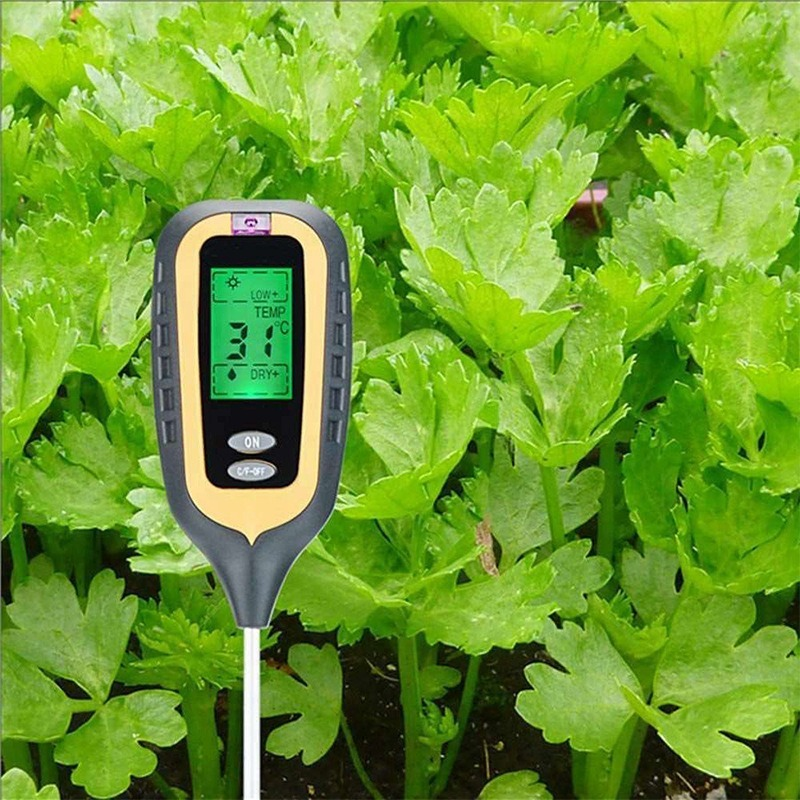 Soil Detector Square Head 4 In 1 Acidity Meter Potted Soil Temperature, Humidity, Light PH Probe Tester