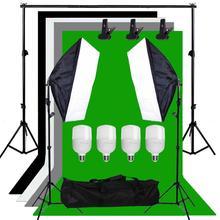 Zuochen 100 ワット写真スタジオソフトボックスソフトボックス照明キット 4 背景の背景サポートスタンドキットと 2 メートルスタンドのためのfacebookライブ