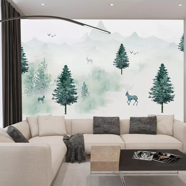 Fog Forest Mural Scandinavian Minimalist Modern TV Backdrop Living Room Sofa Bedroom Wallpaper Seamless Customizable