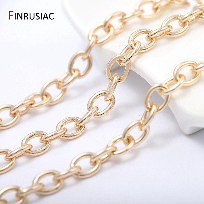 Цепь из латуни с покрытием из настоящего золота 14 к, толстая круглая кубинская цепочка 1,5 мм, фурнитура для ожерелья, браслета