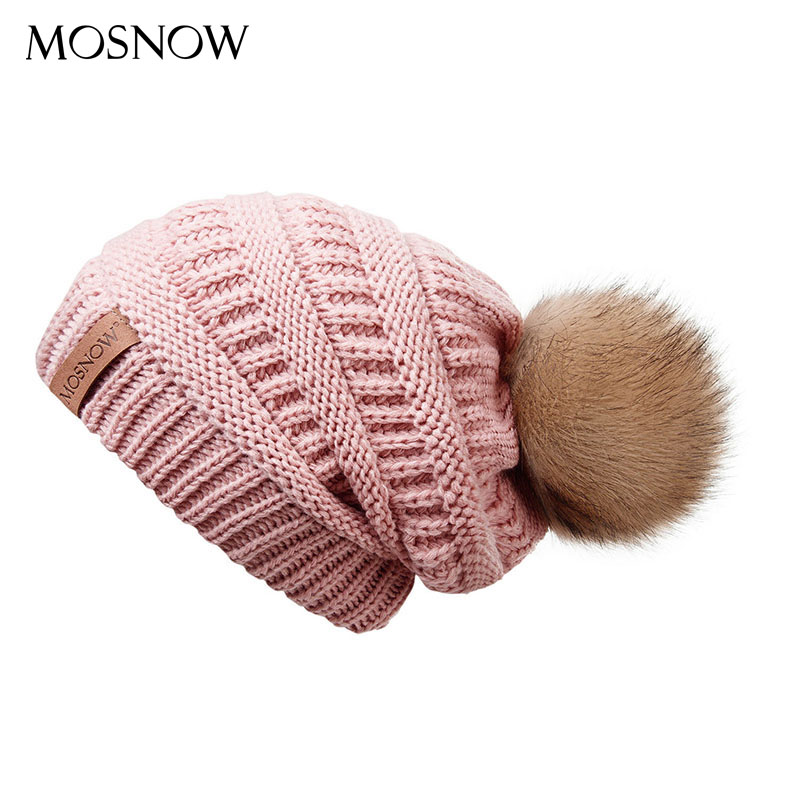 Winter Women Knitted Beanie Hat Female Striped Leather Tags Warm Caps With Fur Pom Pom Fashion Thick Solid Skullies Beanies