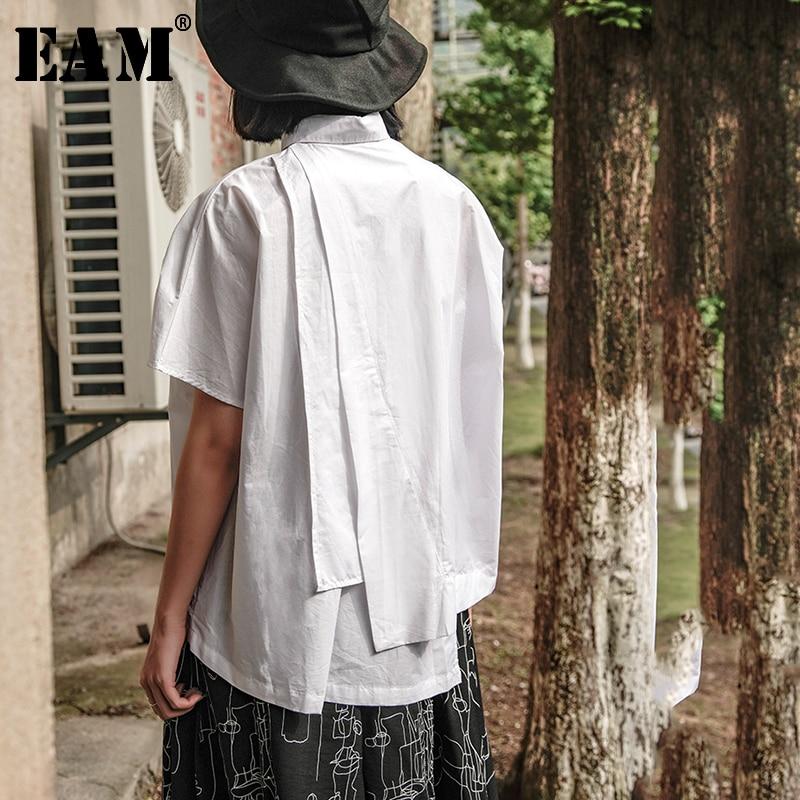 [EAM] Women White Back Pleated Split Big Size Blouse New Lapel Long Sleeve Loose Fit Shirt Fashion Tide Spring Summer 2020 JX753