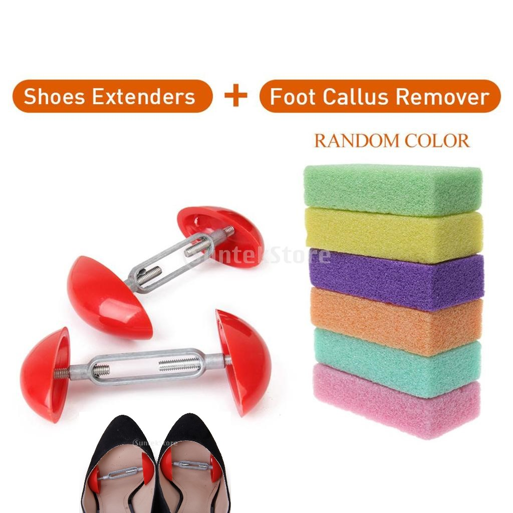 2019 Hot Mini Men's Women's Shoes Stretchers Shoe Tree Shapers Width Extenders Adjustable + Foot Care Scrub Skin Remover Cleaner