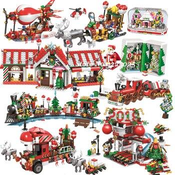 Рождественский набор, создатель города, зимний домик в деревушке, воздушный шар, кристальная коробка, блоки, игрушки для детей на Рождество