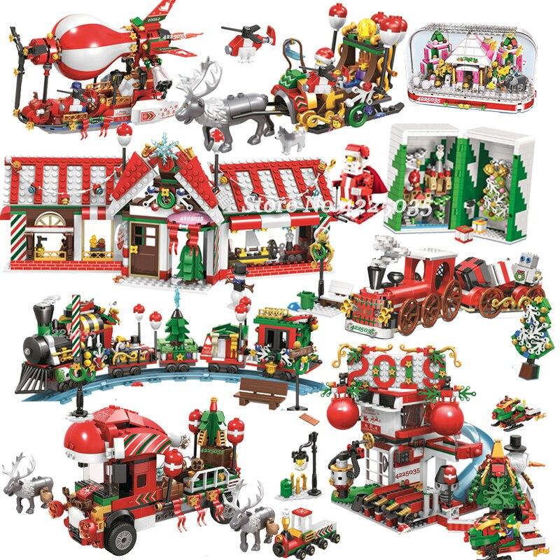 Городской поезд создатель Рождество Зима деревенский дом Санта подарочный набор строительные блоки город улица вид архитектурные кубики д...