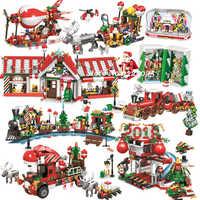 LEGOeinglys City Creator Christmas Sets Winter Village House Train Balloon Santa Crystal Box Blocks Toys Kid LEGOeings Christmas