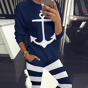 Off-the-shoulder two-piece ship anchor print shirt and shorts suit Spring new women's elegant casual sportswear streetwear animal print off the shoulder sweatshirt