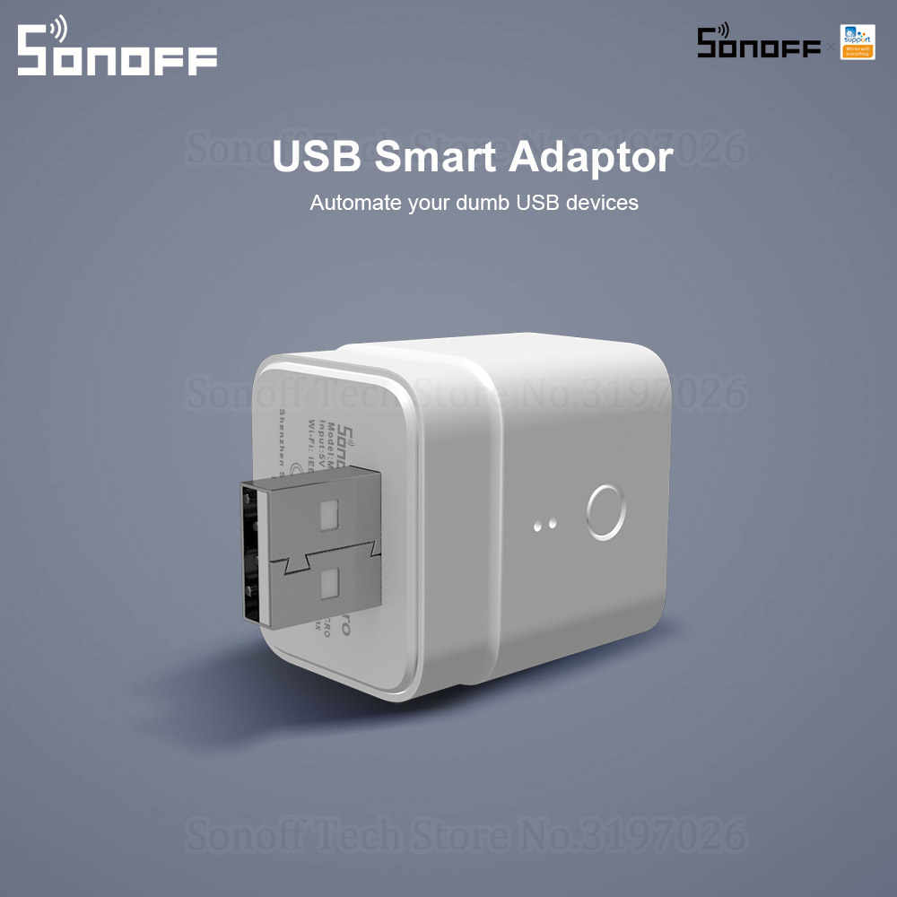 Itead Sonoff Micro 5V Draadloze Usb Smart Adapter Flexibele En Draagbare Make Usb Apparaten Smart Via Ewelink App Google thuis Alexa