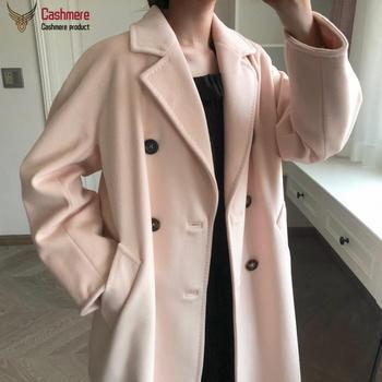 Women coat winter cashmere coat female long wool coat female high-end classic double-breasted coat black red coat female 101801 фото