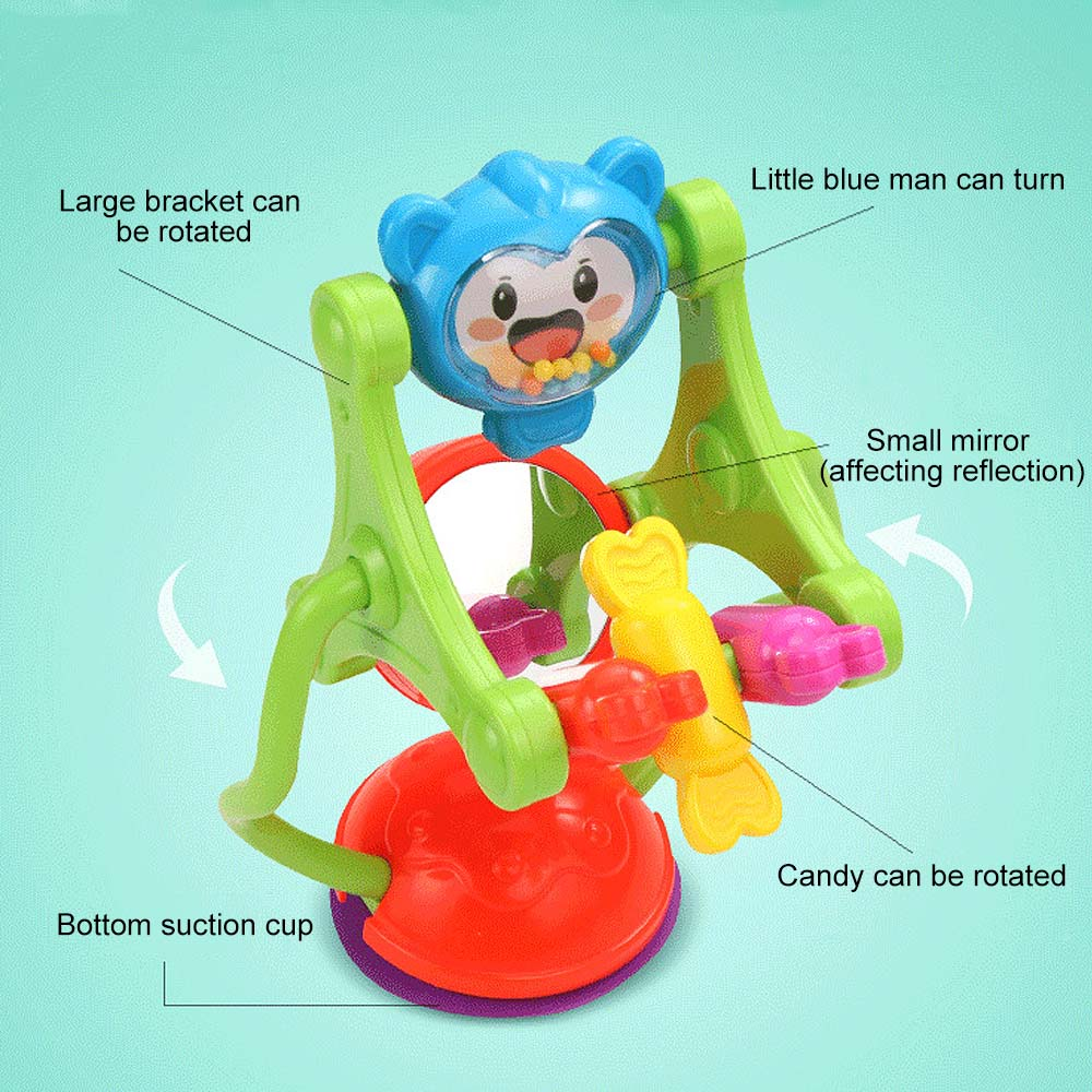Baby Toys Three-color Model Rotating Windmill Noria Stroller Dining Chair With Suction Cups Educational Toys For Babies